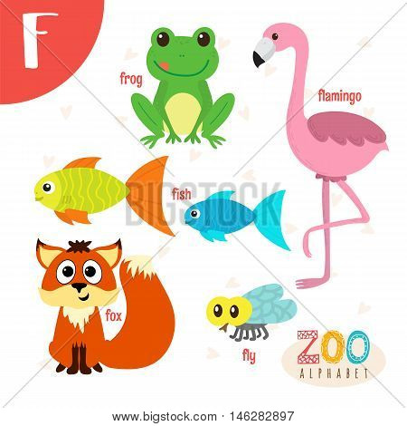 Letter F. Cute Animals. Funny Cartoon Animals In Vector. Abc Book