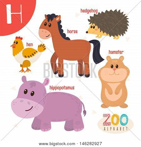 Letter H. Cute Animals. Funny Cartoon Animals In Vector. Abc Book