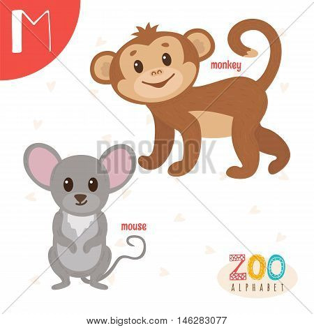 Letter M. Cute Animals. Funny Cartoon Animals In Vector. Abc Book