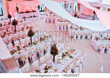 Awesome wedding hall on restaurant at wedding day