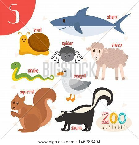Letter S. Cute Animals. Funny Cartoon Animals In Vector. Abc Book