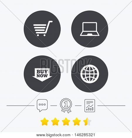 Online shopping icons. Notebook pc, shopping cart, buy now arrow and internet signs. WWW globe symbol. Chat, award medal and report linear icons. Star vote ranking. Vector