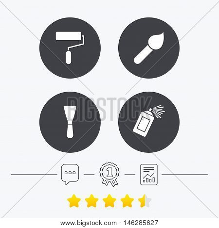 Paint roller, brush icons. Spray can and Spatula signs. Wall repair tool and painting symbol. Chat, award medal and report linear icons. Star vote ranking. Vector