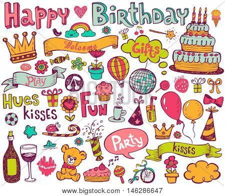 Set of colorful birthday illustrations in doodle style