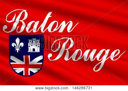 Flag of Baton Rouge is the capital of Louisiana United States. 3D illustration