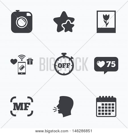 Hipster retro photo camera icon. Manual focus symbols. Stopwatch timer off sign. Macro symbol. Flat talking head, calendar icons. Stars, like counter icons. Vector poster