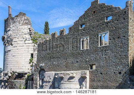 Cecilia metella mausoleum building remains Via Appia Antica Rome Italy