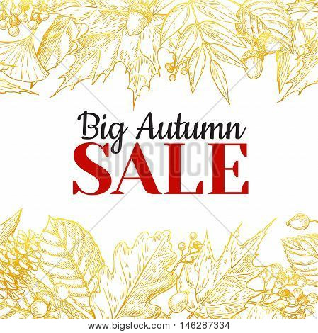Autumn sale vector gold banner with leaves and berry. Hand drawn fall illustration with frame and botanical elements. Great for poster banner voucher offer coupon black friday sale.
