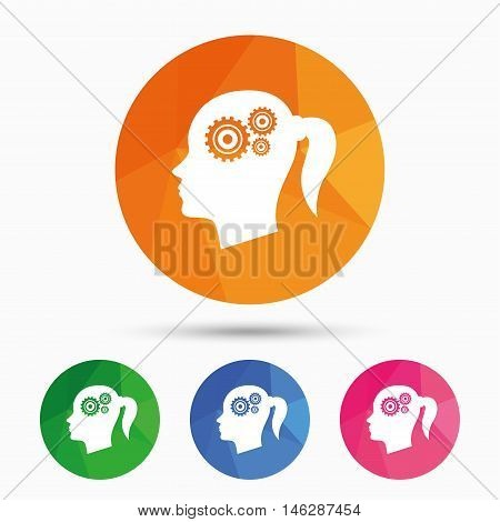 Head with gears sign icon. Female woman human head think symbol. Triangular low poly button with flat icon. Vector