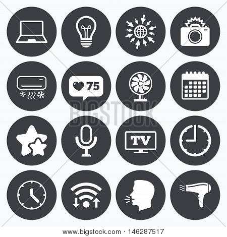 Calendar, wifi and clock symbols. Like counter, stars symbols. Home appliances, device icons. Air conditioning sign. Photo camera, computer and ventilator symbols. Talking head, go to web symbols. Vector