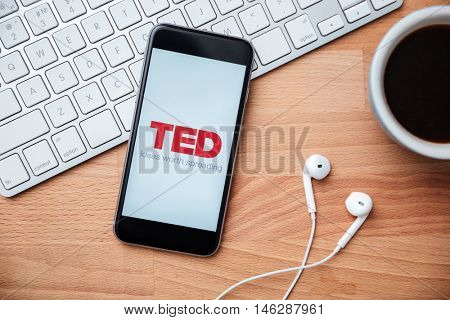 SARANSK, RUSSIA - JANUARY 07, 2016: A phone screen shows details of TED app main page