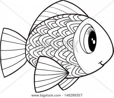Cute Doodle Fish Vector Illustration Art