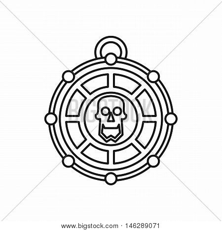 Piratical medallion with skull in outline style isolated on white background vector illustration