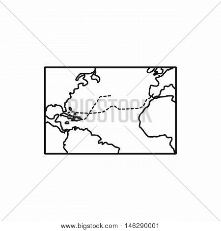 Christopher Columbus voyage map in outline style isolated on white background vector illustration