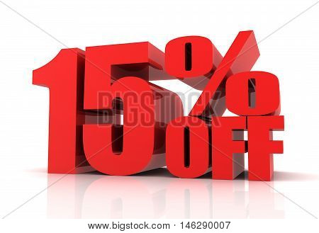fifteen percent off sale 3d illustration isolated on white background