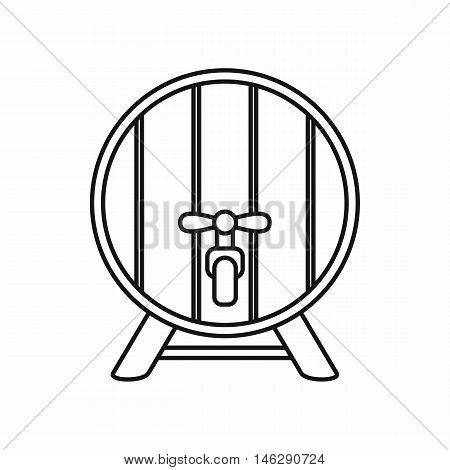Beer barrel in outline style isolated on white background vector illustration