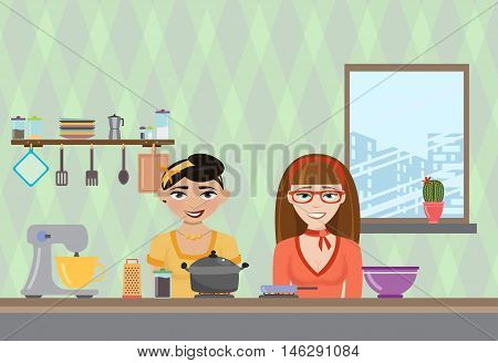 Vector illustration of women cooking in the kitchen. TV show about cooking different dishes