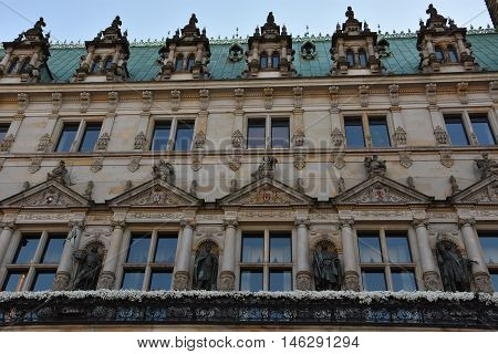 HAMBURG, GERMANY - AUG 26: Hamburg Rathaus (City Town Hall) in Germany, as seen on Aug 26, 2016. It is the seat of the government of Hamburg and as such, the seat of one of Germany's 16 state parliaments.