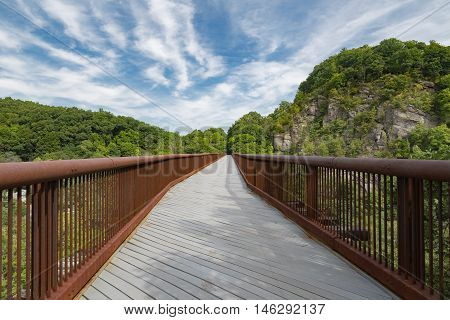 Rosendale trestle portion of the Wallkill Valley Rail Trail that spans approximately 23 miles in the Hudson Valley.