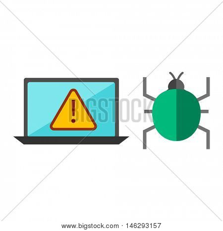 Computer worms viruses vector.