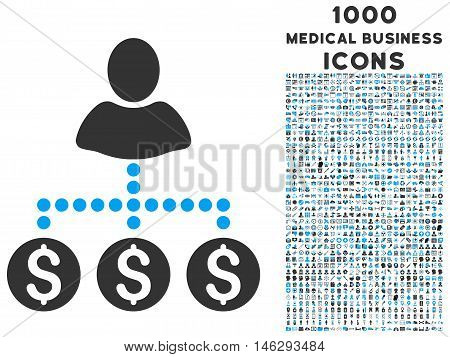 User Payments glyph bicolor icon with 1000 medical business icons. Set style is flat pictograms blue and gray colors white background.
