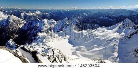 Panoramic View of Cascade Mountains.  Gothic Basin, North Cascades, Washington