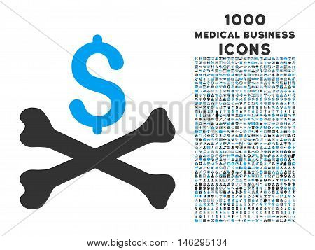 Mortal Debt glyph bicolor icon with 1000 medical business icons. Set style is flat pictograms blue and gray colors white background.