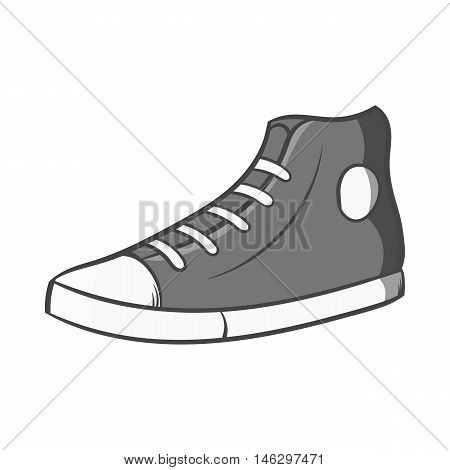 Sneakers icon in black monochrome style isolated on white background. Shoes symbol vector illustration