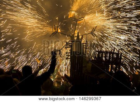 Great participation of people at a reenactment of the Ripatransone fire horse. Italy.