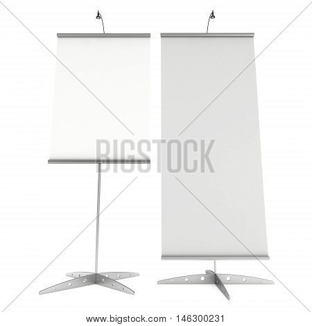 Blank Roll Up Banner Stands. Trade show booth white and blank. 3d render illustration isolated on white background. Template mockup for your design.