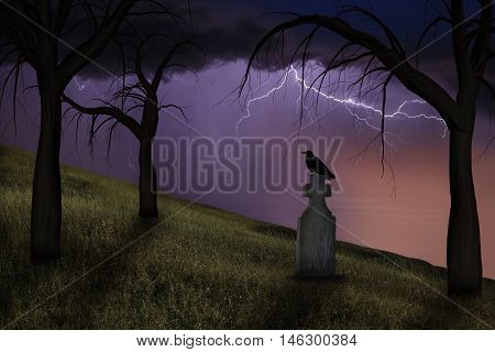 Spooky crow on a headstone in a graveyard under stormy skies