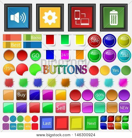 Sound Gear , Synchronizing , Wastebasket Icon. Big Set Buttons For Your Site. Vector