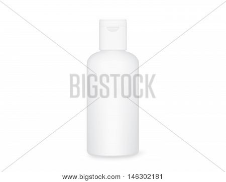 Vector White plastic bottle with white cap isolated on white background. Ideal for mock up and other.