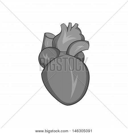 Heart human icon in black monochrome style isolated on white background. Human organs symbol vector illustration