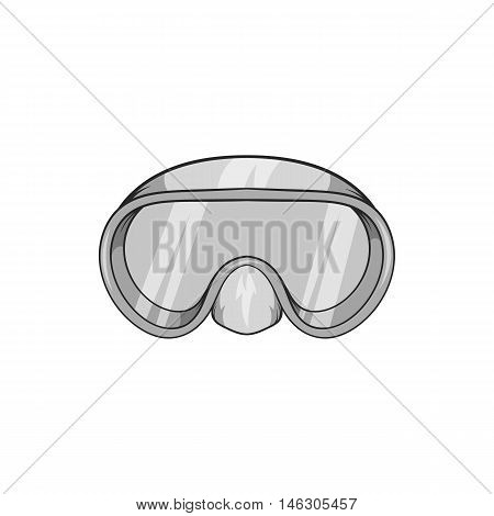 Goggles for diving icon in black monochrome style isolated on white background. Swimming symbol vector illustration poster