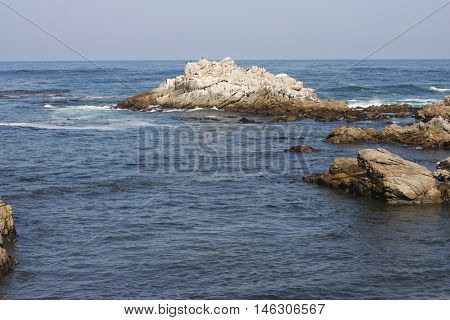 This is an image of rocks just off the coast of Asilomar State Beach in Pacific Grove, California.