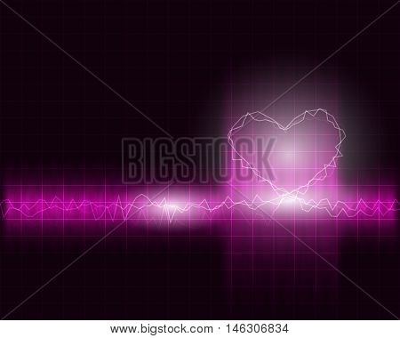 abstract wave frequency with heart shape background vector illustration