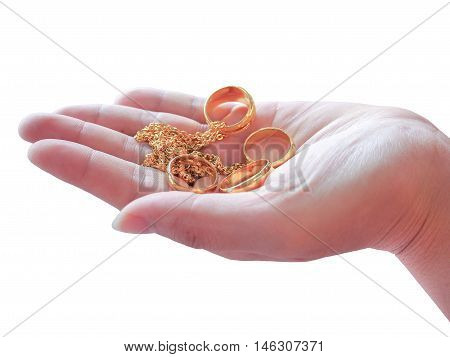 Hand hold the gold jewelry high percent and valuable, it looks beautiful for people and cost in many countries