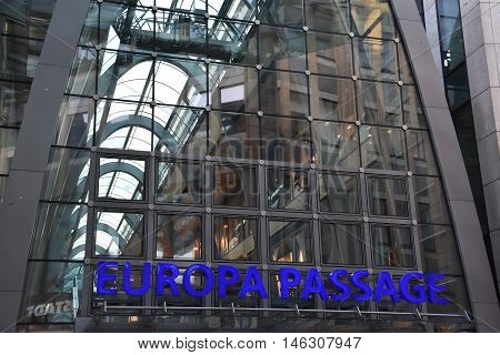 HAMBURG, GERMANY - AUG 27: Europa Passage shopping mall in Hamburg, Gemany, as seen on Aug 27, 2016. It was opened in 2006 and the total investment cost of the building amounted to 430 million Euro.