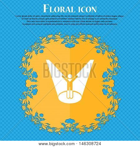 Spotlight Icon Icon. Floral Flat Design On A Blue Abstract Background With Place For Your Text. Vect