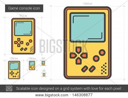 Game console vector line icon isolated on white background. Game console line icon for infographic, website or app. Scalable icon designed on a grid system.