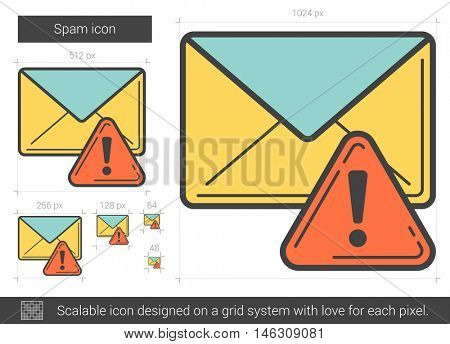 Spam vector line icon isolated on white background. Spam line icon for infographic, website or app. Scalable icon designed on a grid system.