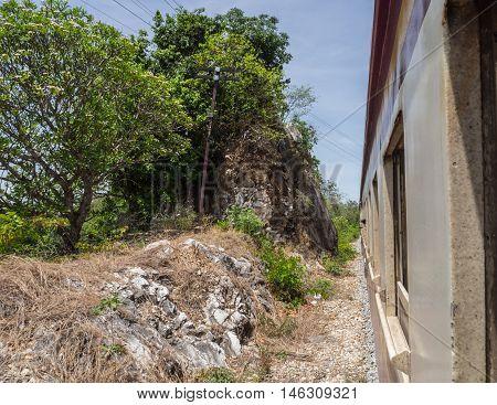 Railroad or train pass into narrowly way