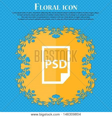 Psd Icon Icon. Floral Flat Design On A Blue Abstract Background With Place For Your Text. Vector