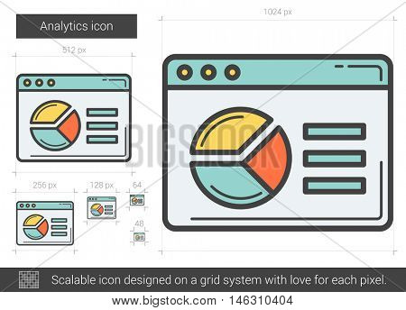 Analytics vector line icon isolated on white background. Analytics line icon for infographic, website or app. Scalable icon designed on a grid system.