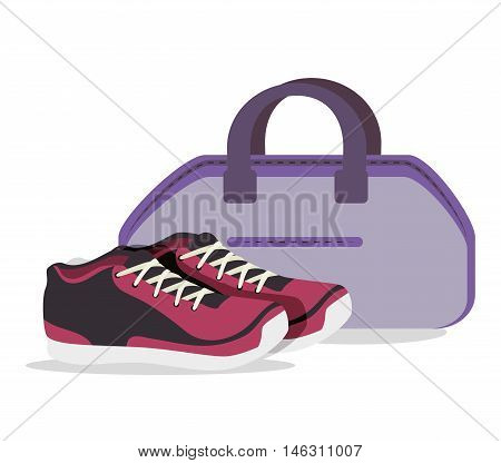 cartoon sneakers fitness sport elements design vector illustration eps 10