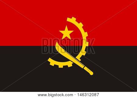 Flag of Angola in correct size proportions and colors. Accurate official standard dimensions. Angolan national flag. African patriotic symbol banner element background. Vector illustration