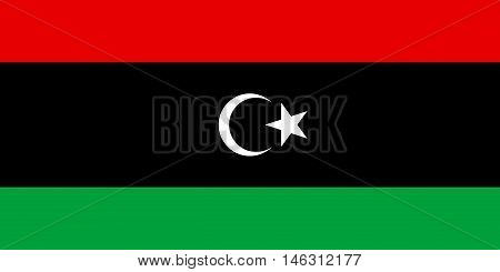 Flag of Libya in correct size proportions and colors. Accurate official standard dimensions. Libyan national flag. African patriotic symbol banner element background. Vector illustration