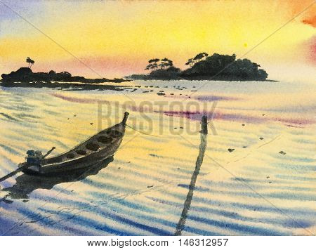 Watercolor original landscape painting colorful of fishing boat seascape sky and yellow background