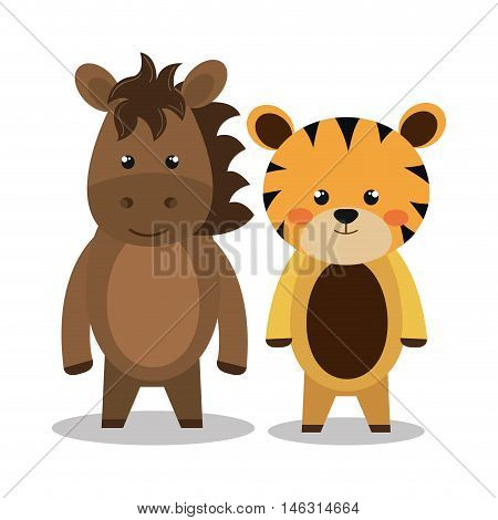 cartoon animal tiger horse plush stuffed design vector illustration eps 10